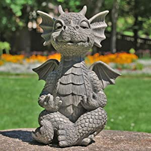 Nileco Dragon Figurines Lawn Decor Art Sculptures for Backyard Patio Balcony Courtyard,Meditation Dragon Garden Statues,Resin Animals Statues Ornaments Outdoor Yard Decorations Sculptures-B One Size