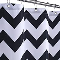 Haperlare Stall Shower Curtain, Chevron Striped Polyester Fabric Shower Curtain for Bathroom with Rustproof Metal…