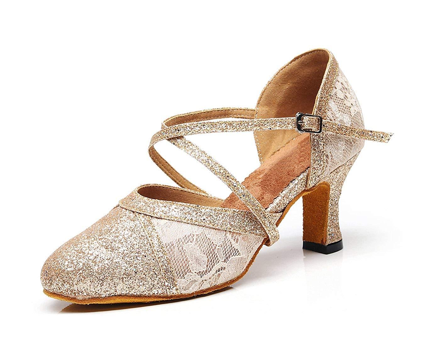 Qiusa Damen Cross Strap Light Gold Spitze Salsa Latin Formale Dancing Schuhe Formale Latin Partei Pumps UK 5 (Farbe   - Größe   -) 6ed460