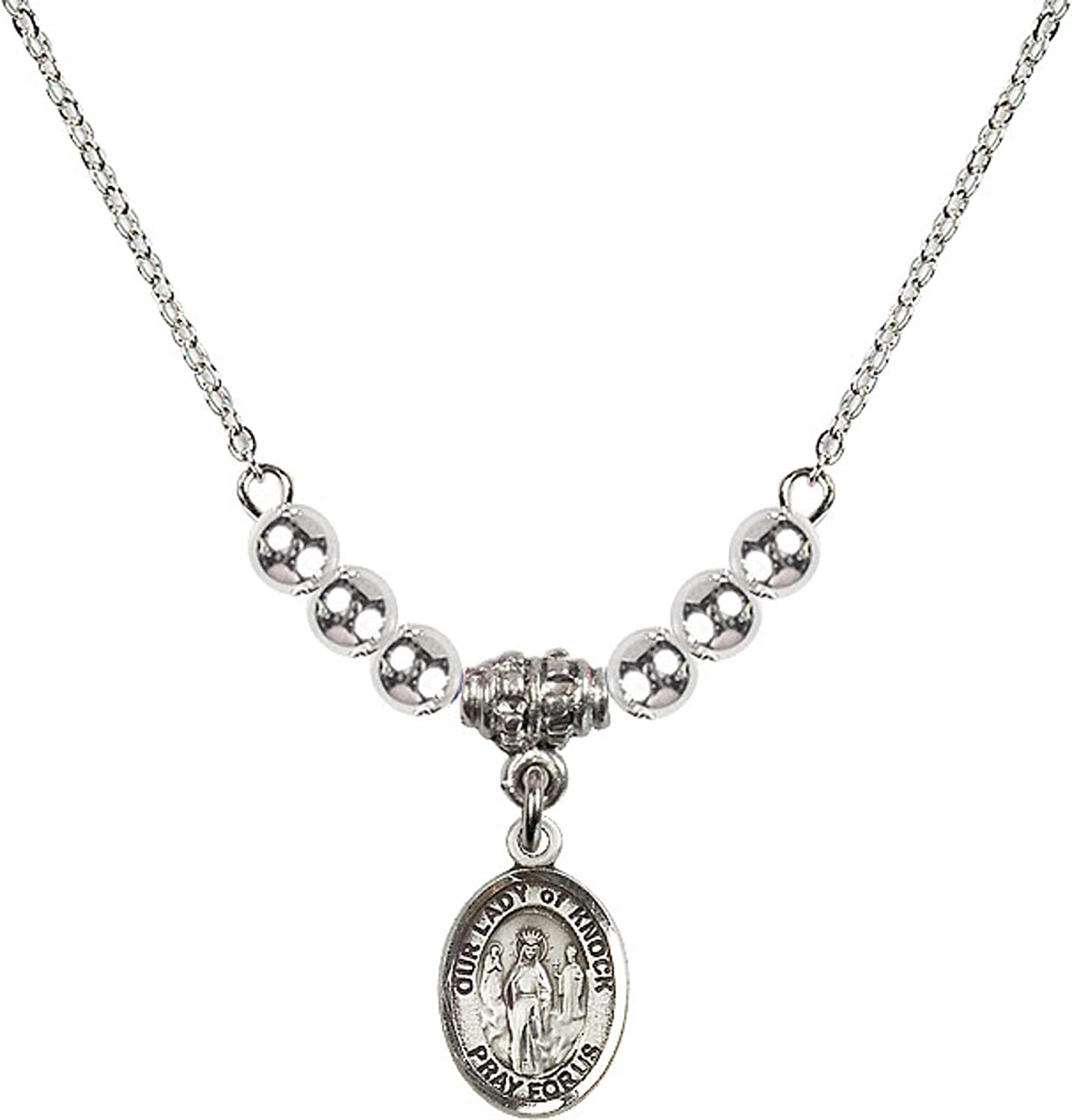 Bonyak Jewelry 18 Inch Rhodium Plated Necklace w// 4mm Sterling Silver Beads and Our Lady of Knock Charm