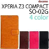 『保護シール付き』 SO-02G XPERIA Z3 compact 用 本革風 手帳型ケース キャメル [ XPERIAZ3COMPACT エクスペリアZ3コンパクト SO-02G ケース カバー SO-02G SO-02G ]