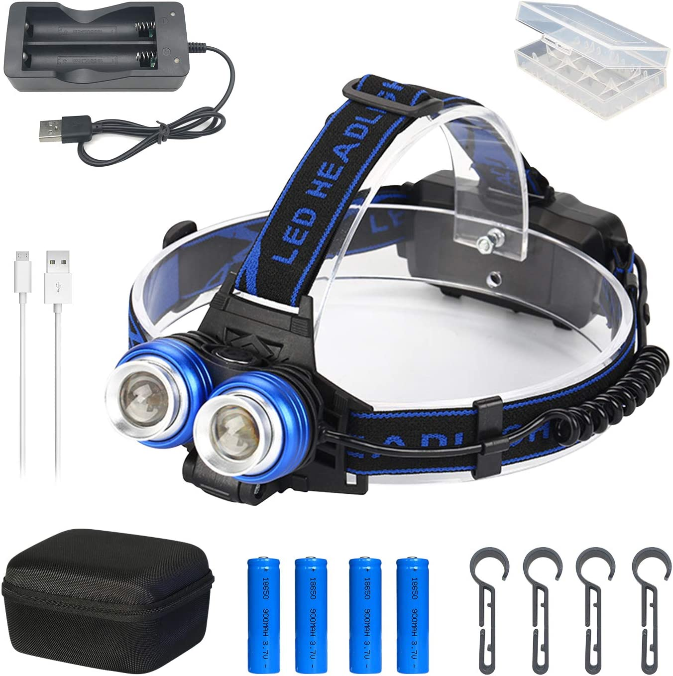 Hands-Free Led Flashlight for Reading Useful and Interesting Headlamp Kit Rechargeable Head Lamp Can Rotate 360/° Running Camping and Hiking,Waterproof Camping Gear Accessories Fishing