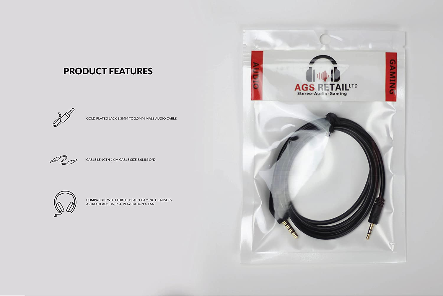 Playstation 4 PS4 Chat Talkback Cable for Astro MixAmp Astro A50 & Turtle Beach Gaming Headsets – Gold Plated: Amazon.es: Electrónica