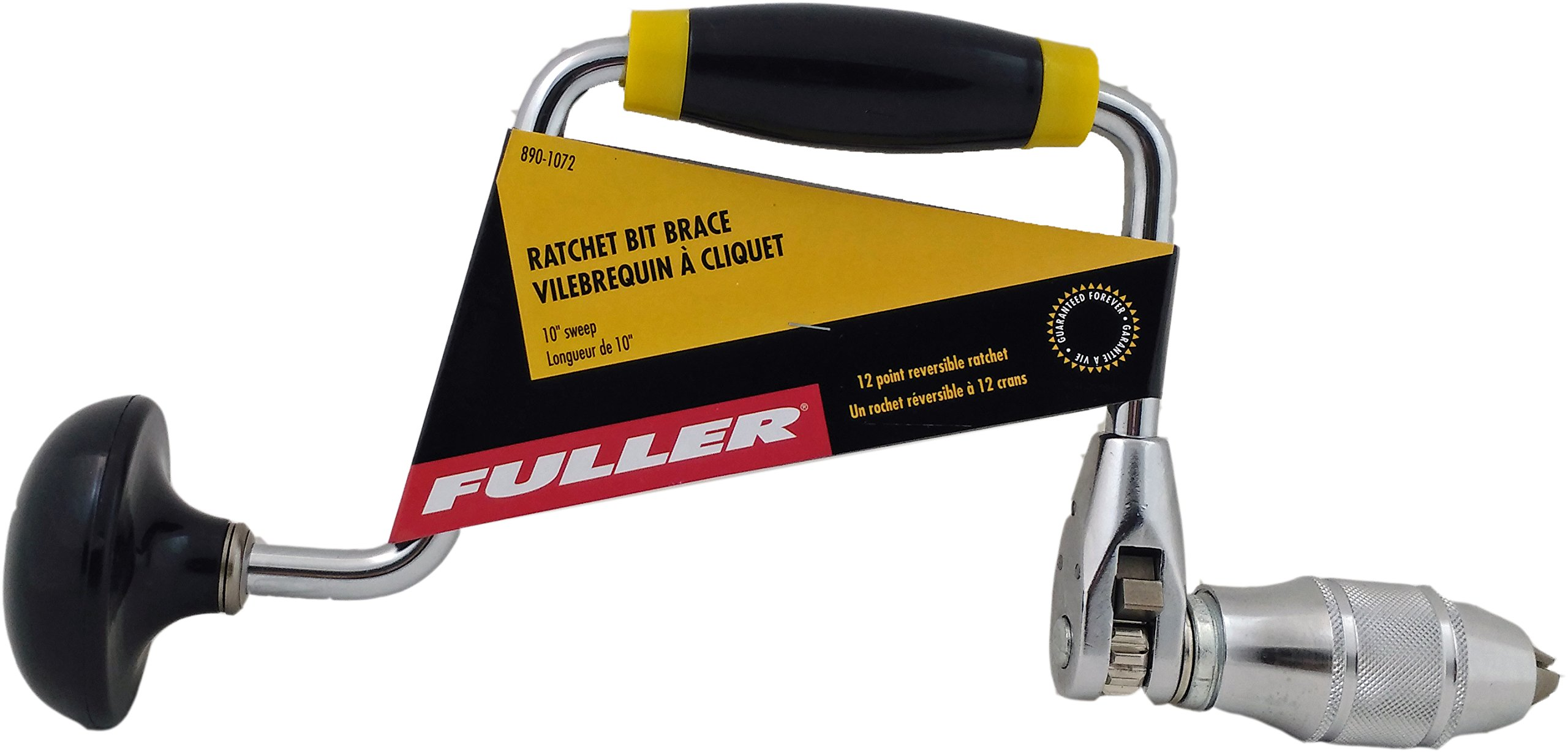 Fuller Tool 890-1072 12-Point Reversible Ratchet Bit Brace Hand Drill with 4-Jaw Chuck
