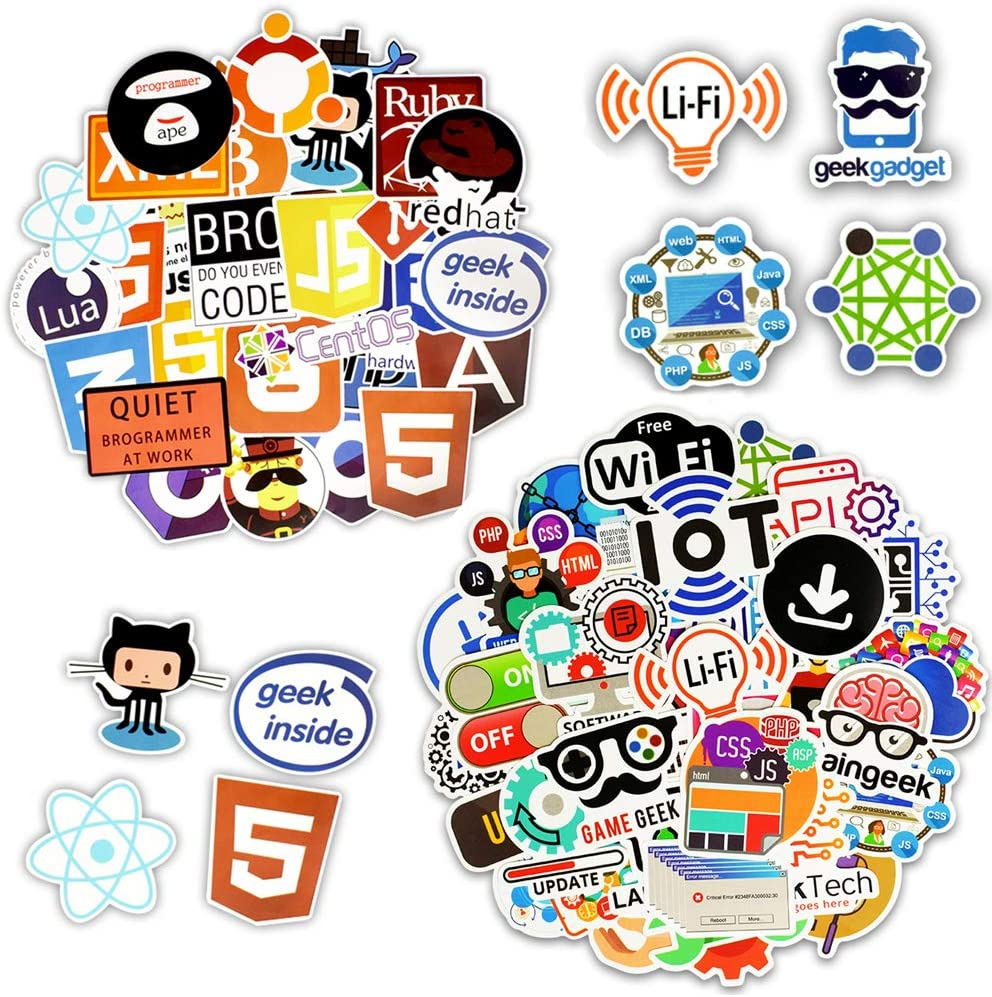 100 PCS Cool Programming Stickers Logo Internet Software Sticker Funny Gift for Geeks Hackers Developers to DIY Laptop Phone (A+B - 100PCS)