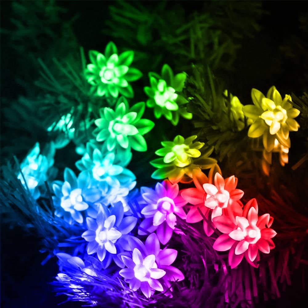 Multi-Colored Celebration Decoration Wedding Ceremony Christmas HIOTECH Solar Lights 20 LED Waterproof Cherry Blossom String Light for Outdoor Decoration Party