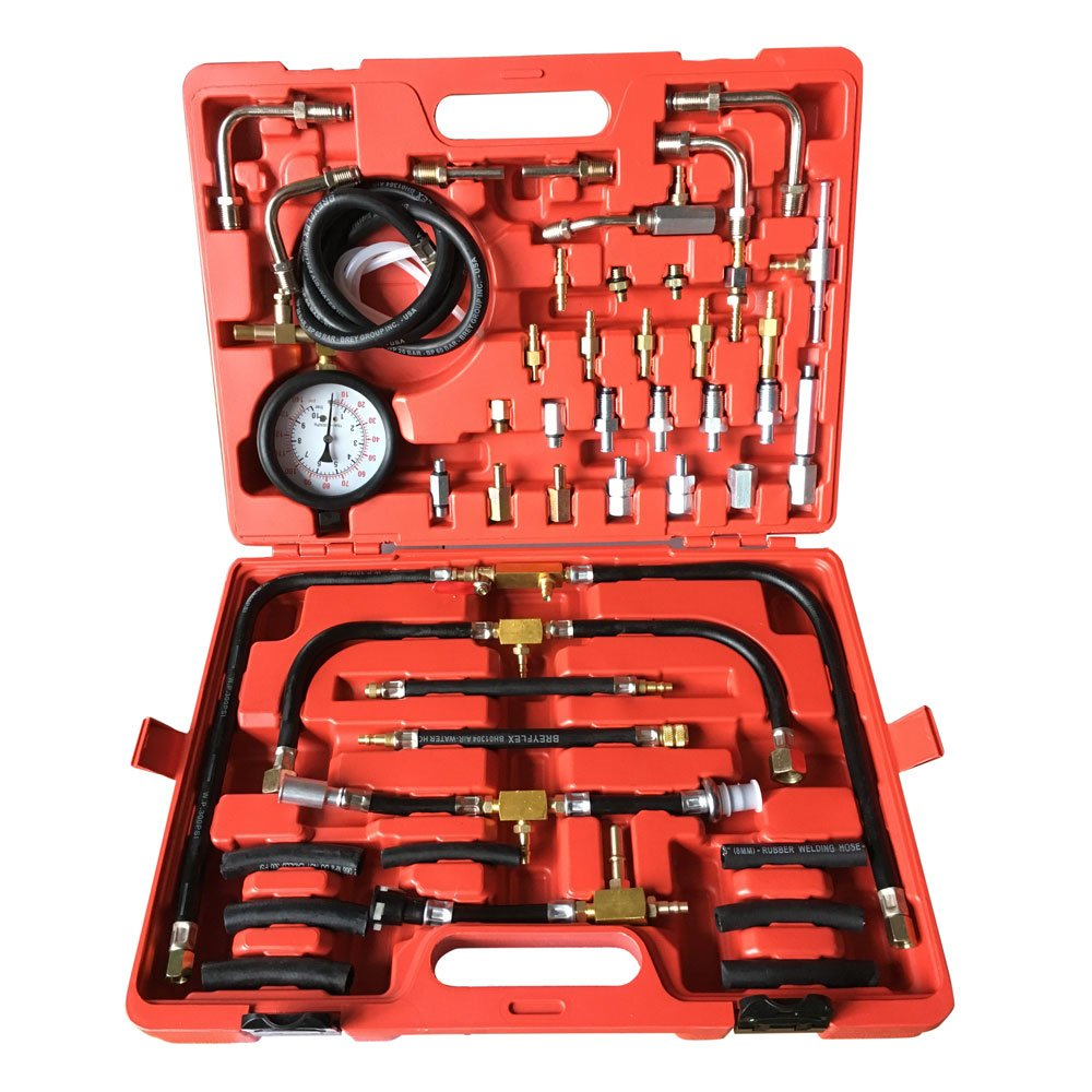 SUNROAD Professional Fuel Injection Pump 0-140 PSI Pressure Tester Gauge Kit Car Tools Set with Case