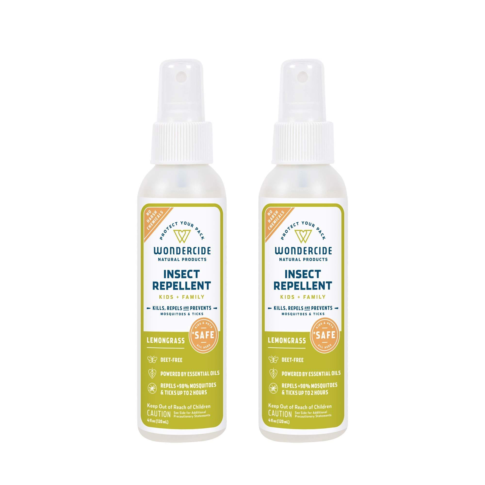 Wondercide Natural Deet Free Insect Repellent 4 oz Pack of 2 (Lemongrass)
