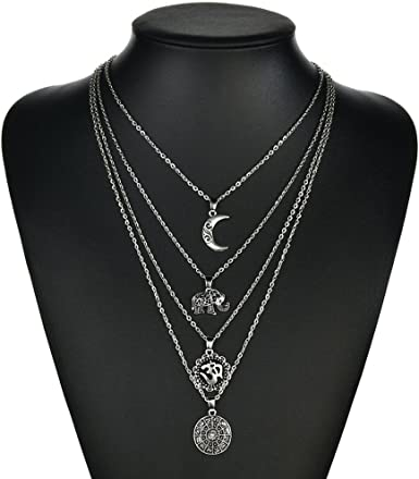 Fashion Womens Jewelry Pendant Star Cross Moon Choker Chunky Chain Bib Necklace