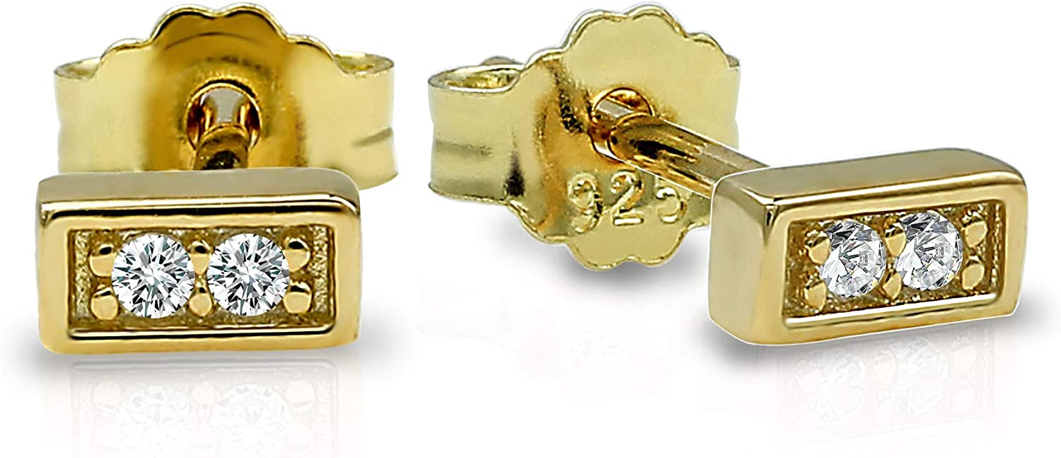 Spoil Cupid 14k Gold Plated Sterling Silver Plain Dainty Mini Square Round Bar Stud Earrings