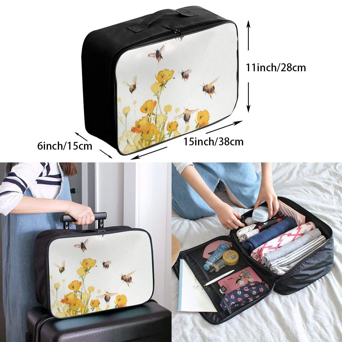 8580ed536970 Amazon.com: customgogo Animal Frog in Rain Travel Luggage Tote ...