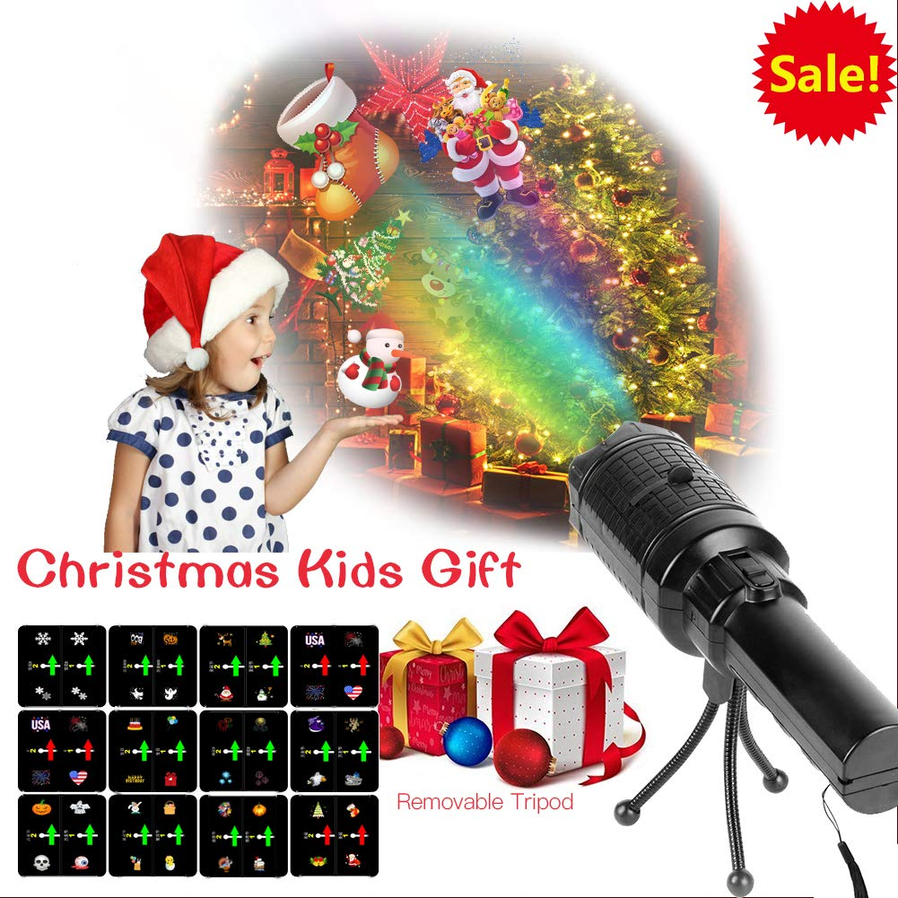 Musical Light Projector Flashlight Thanksgiving Music Portable LED Projector Light /& Handheld Bright Flashlight with 12 Slides USB Charging Cable Tripod Decoration for Parties Halloween Christmas
