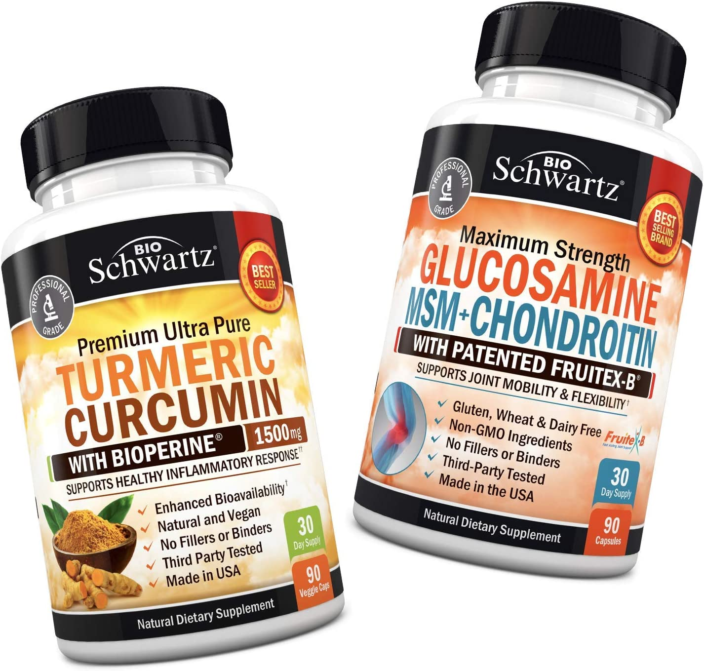 Turmeric Curcumin with BioPerine 1500mg + Glucosamine Chondroitin MSM - Premium Joint Support - Promotes Healthy Inflammatory Support - Non-GMO & Gluten-Free