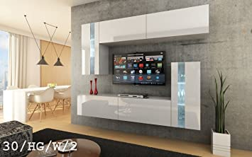 future 30 wohnwand anbauwand wand schrank mbel wohnzimmerschrank wohnzimmer tv schrank hochglanz wei schwarz led - Wohnzimmer Tv