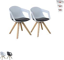 i-flair Set Esszimmerstuhl/Sessel / Küchenstuhl mit ARMLEHNE aus Holz mit Sitzschale + Sitzkissen aus Kunstleder (2, Schwarz - Weiß)