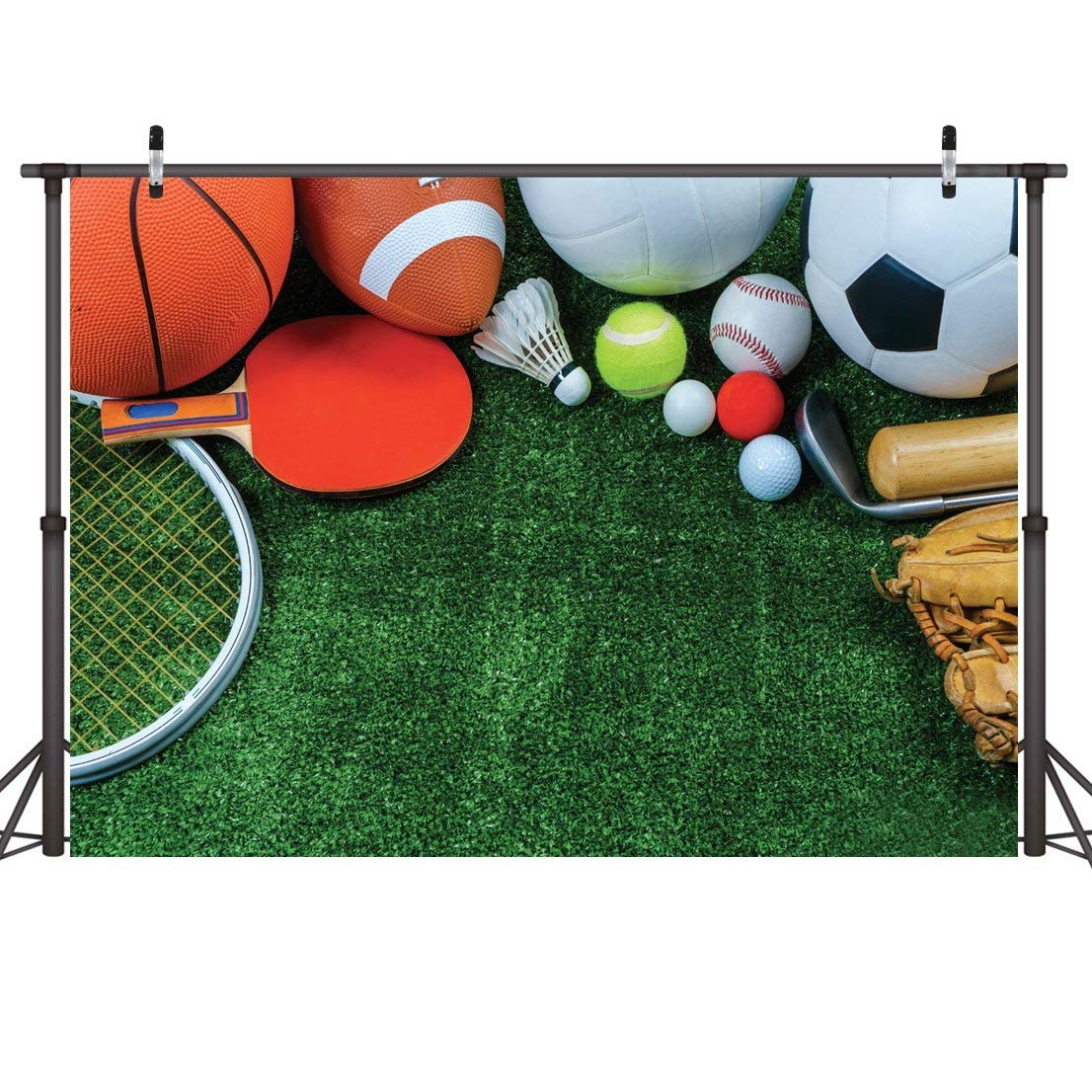 LYWYGG 7x5ft Photography Backdrops Sports Goods Grassland Spotrs Backdrop for Studio Prop Photo Background Photography Props CP-14