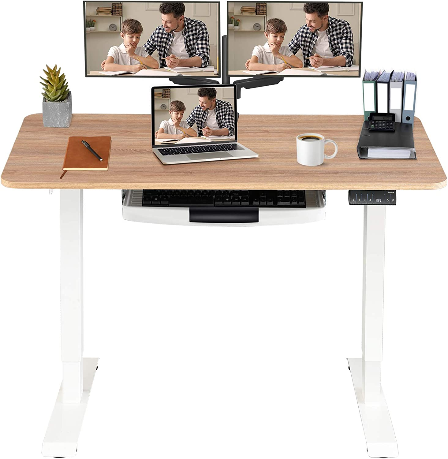 MONOMI Electric Height Adjustable Standing Desk, 48 x 24 inches Stand up Desk Workstation, Sit Stand Home Office Table with 4 Programmable Preset Controller,Oak