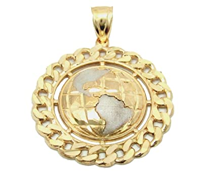 Amazon 14k yellow gold world map pendant hollow jewelry 14k yellow gold world map pendant hollow gumiabroncs Image collections