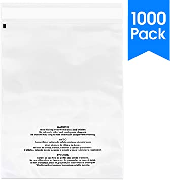 1.5 mil Clear Resealable Poly Bags with Suffocation Warning print Top Seal LDPE