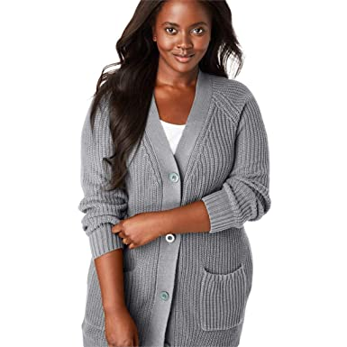 8cdae07fc6e Woman Within Plus Size Button Front Shaker Cardigan at Amazon Women s  Clothing store
