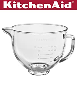 KitchenAid KSM5GB 5 Quart Tilt-Head Glass Bowl with Measurement Markings & Lid, Clear