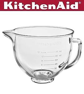 KitchenAid KSM5GB 5 Quart Tilt-Head Glass Bowl with Measurement Markings & Lid, Clear