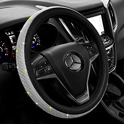 Labbyway Diamond Leather Steering Wheel Cover with Bling Bling Crystal Rhinestones, Universal 15 Inch Car Wheel Protector,White: Automotive