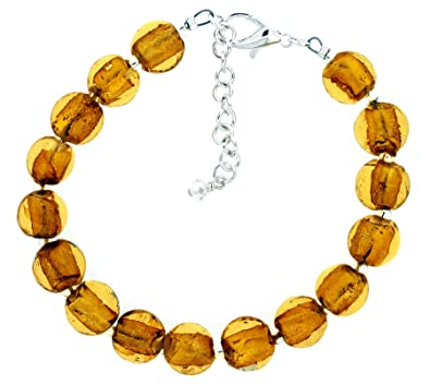 The Jewellery Factory Silver Plated Gold Murano Style Disc Bracelet of 23.5cm C3ziSo