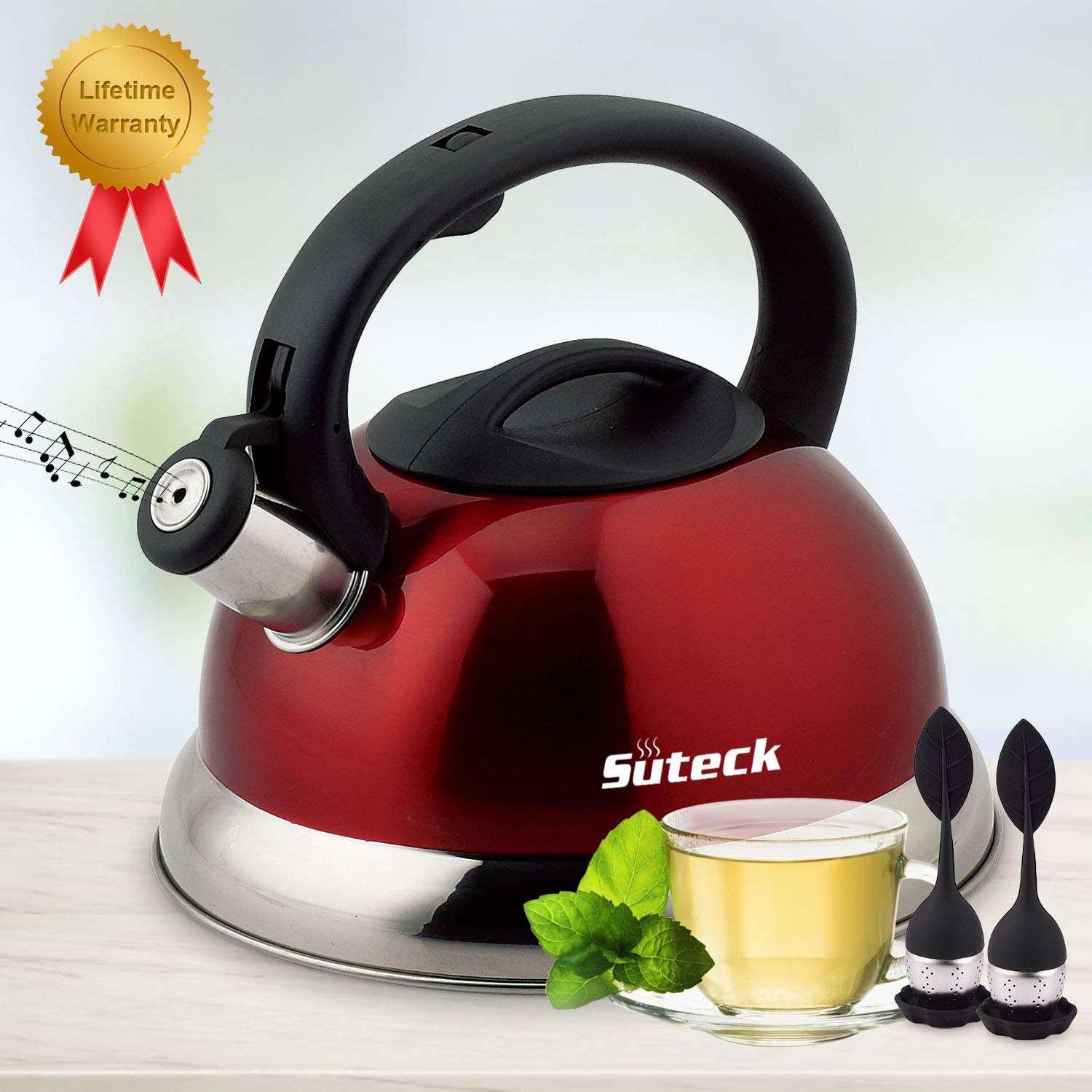 Tea Kettle Whistling Tea Pot 3.3 Qt Stainless Steel Hot Water Teapot for ALL Stovetops 2 FREE Infusers Included
