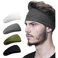 MOSfilian Mens Headband (4 Pack), Mens Sweatband & Sports Headband for Running, Crossfit, Cycling, Yoga, Basketball…