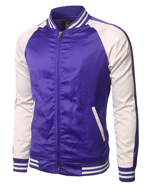 JOGAL Mens Zip up Stain Contrast Colors Varsity Baseball Bomber Jacket X-Large Blue