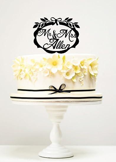 flower decoration for wedding reception.htm amazon com kiskistonite cake toppers wrenth mr   mrs allen custom  amazon com kiskistonite cake toppers
