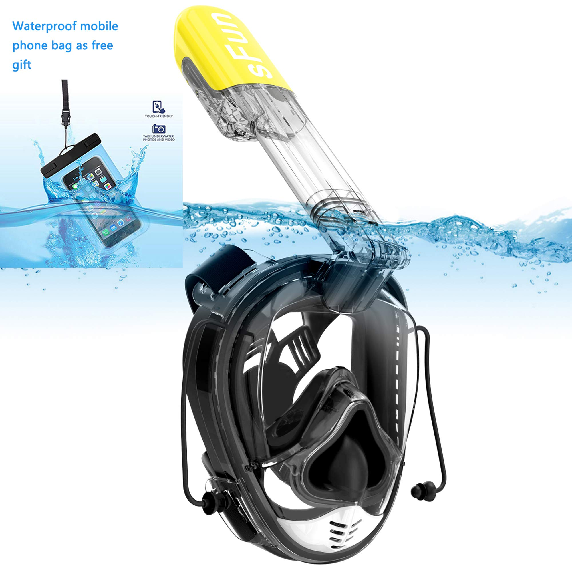 Snorkeling Mask Full Face Snorkel Mask Anti Fog for Adult Kids Diving Snorkeling Scuba Swimming (Black&Yellow) by SFUN
