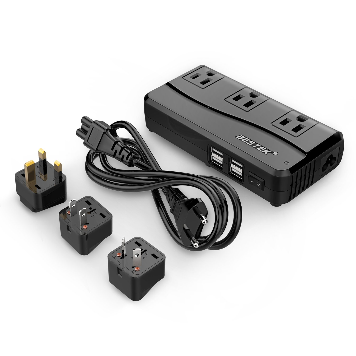 [Patent Protected] BESTEK Universal Travel Adapter 220V to 110V Voltage Converter with 6A 4-Port USB Charging and UK/AU/US/EU Worldwide Plug Adapter