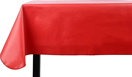 Amazon Com Yourtablecloth Heavy Duty Vinyl Rectangle Or Square Tablecloth 6 Gauge Heavy Duty Tablecloth Flannel Backed Wipeable Tablecloth With Vivid Colors Many Sizes 52 X 108 Ruby Red Kitchen Dining