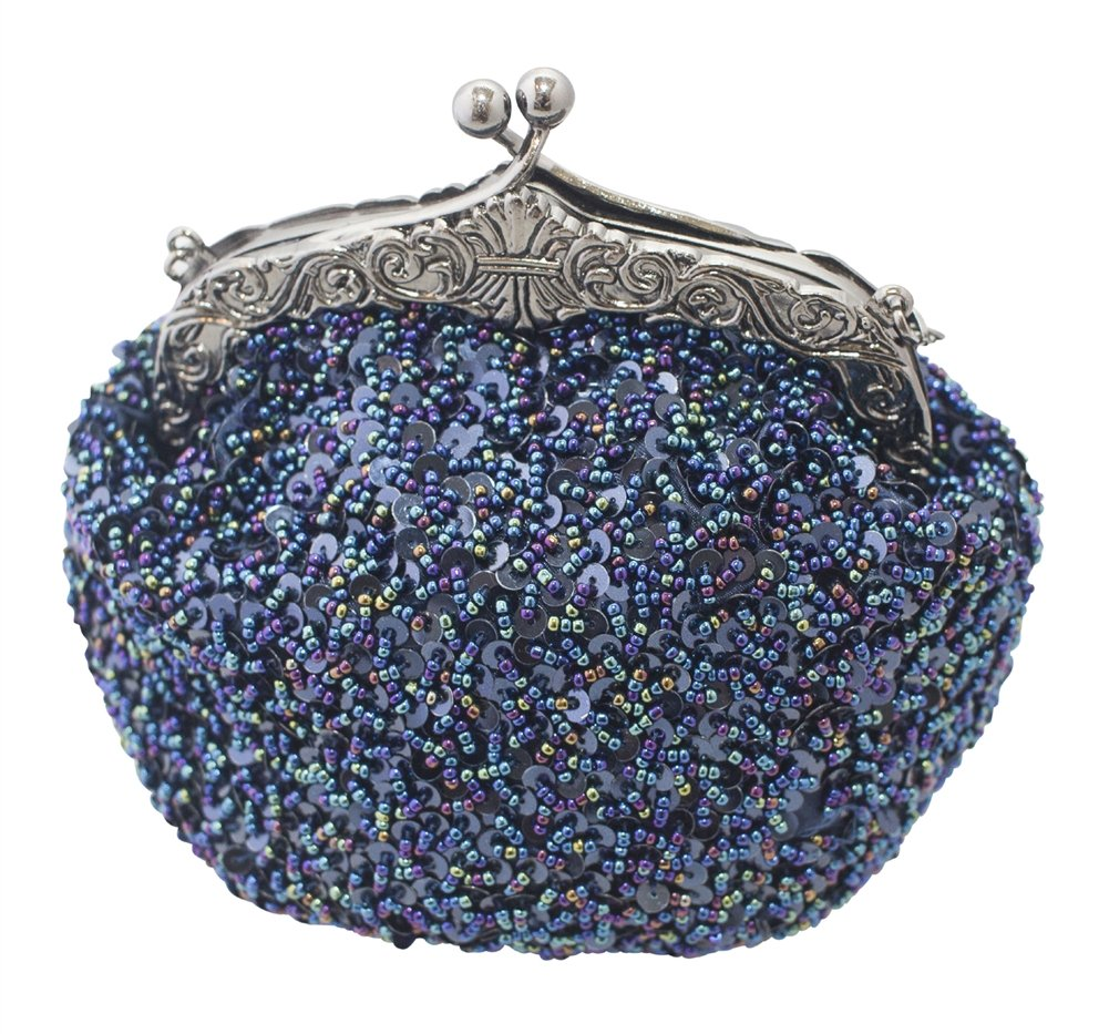 Chicastic Full Sequin Mesh Beaded Antique Style Wedding Evening Formal Cocktail Clutch Purse - Blue