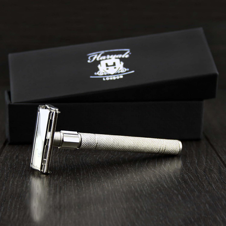 Maquinilla de afeitar de seguridad para hombre de estilo mariposa con apertura de giro Maquinilla de afeitar clásica vintage fabricada en acero inoxidable. Haryali London