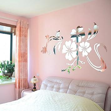 Ikevan 1Set Acrylic Art 3D Mirror Flower Wall Stickers DIY Home Wall ...