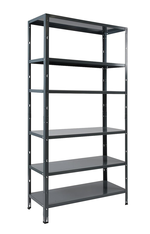 Clicker 100 adjustable 6 metal shelving shelves 200 x 100 x 40 cm grey amazon co uk business industry science