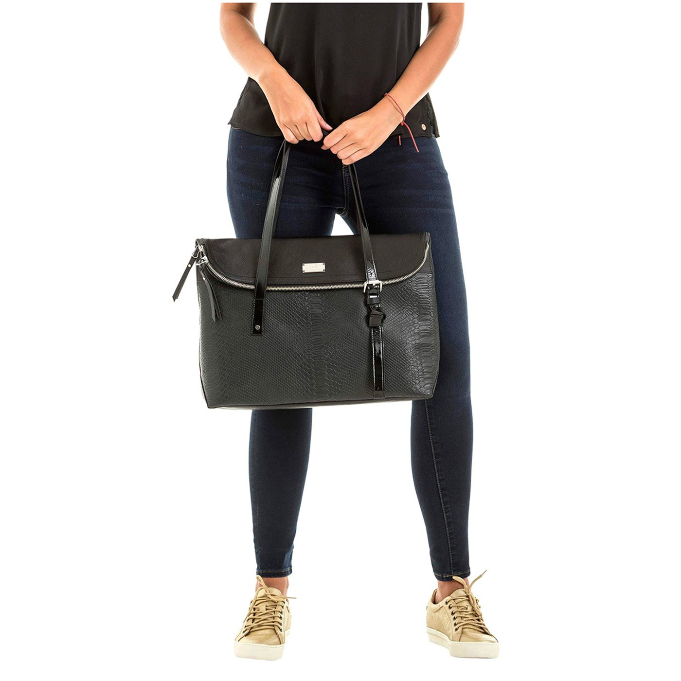 Malet/ín De Cuero Mujer Black V/ÉLEZ 20666 Women Leather Business Briefcase