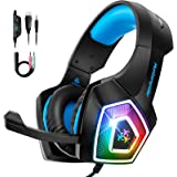 STOON Gaming Headset, for Xbox One PS4 Headset with Noise Canceling Microphone & LED Light, Over-Ear Gaming Headphones…