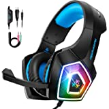 Gaming Headset for PS4 Xbox One, TEUMI Over-Ear Gaming Headphones with Noise Canceling Mic, LED Light, Volume Control…