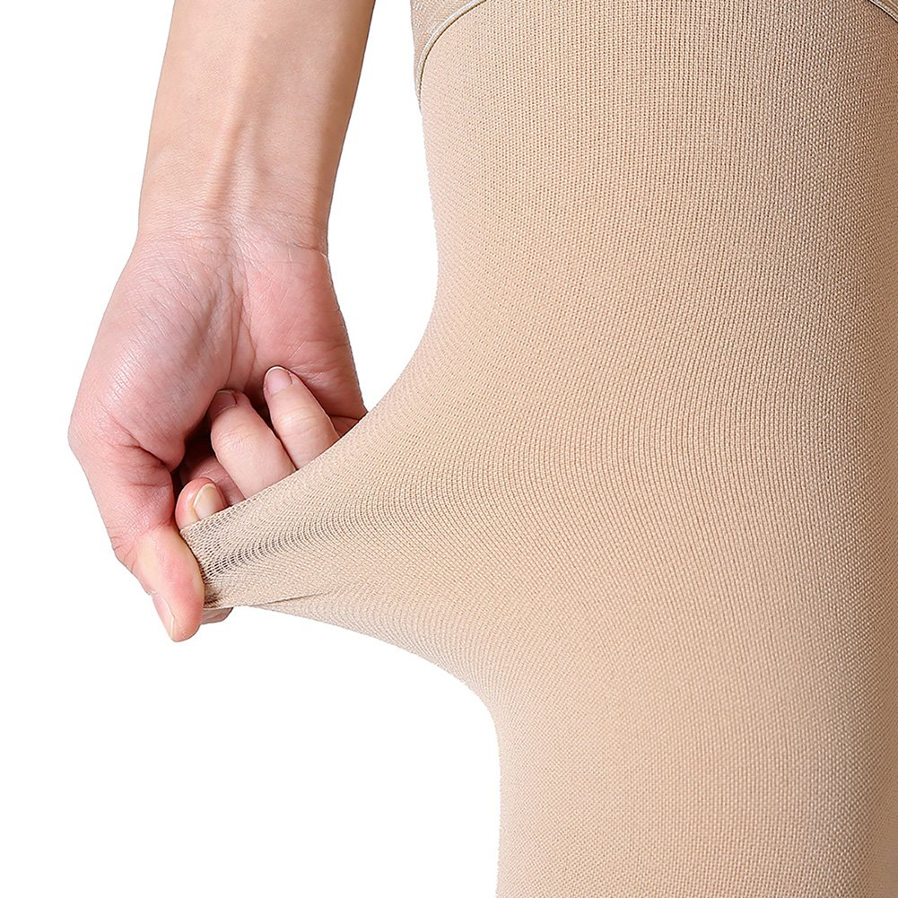 Thigh High Compression Stockings, Closed Toe, Firm Support 20-30 mmHg Gradient Compression Socks with Silicone Band, Opaque, Best for Treatment Swelling, Varicose Veins, Edema, Pregnancy, Beige M by MGANG (Image #5)