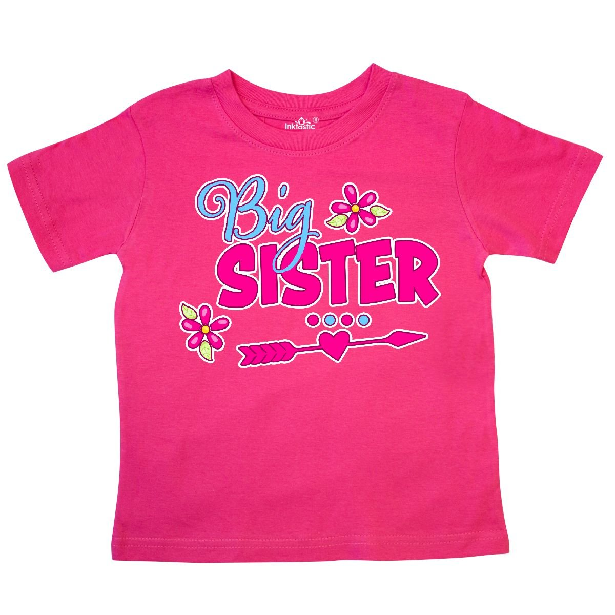 inktastic Big Sister with Flowers and Arrow Toddler T-Shirt