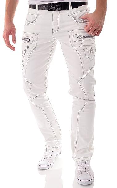 Cipo & Baxx Pantalones Vaqueros Blancos Pantalones de los ...