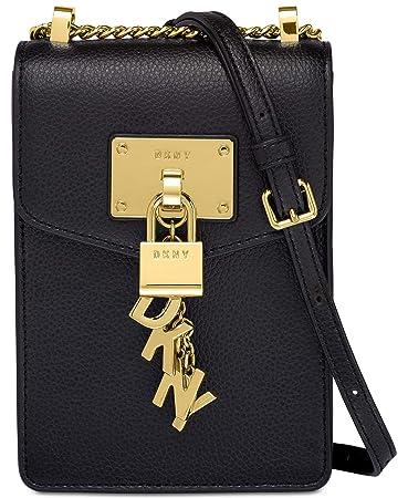 f43d0c063 Amazon.com: DKNY Elissa Pebble Leather Charm Chain Strap Crossbody (Black):  The Digital Cantina