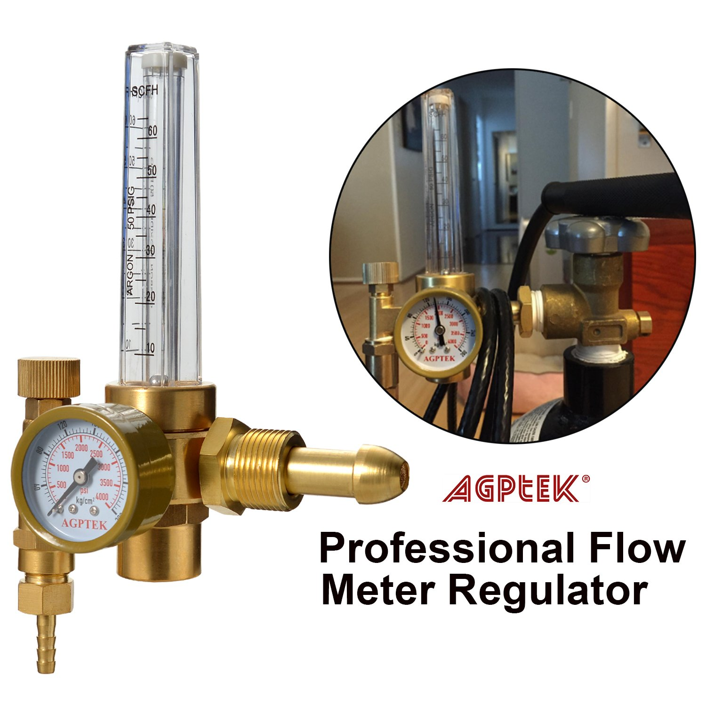 Full Copper 10 to 60 cfh CO2 Argon Pressure Reducer Gauge Weld Flowmeter AGPTEK Mig//Tig Flow Meter Regulator