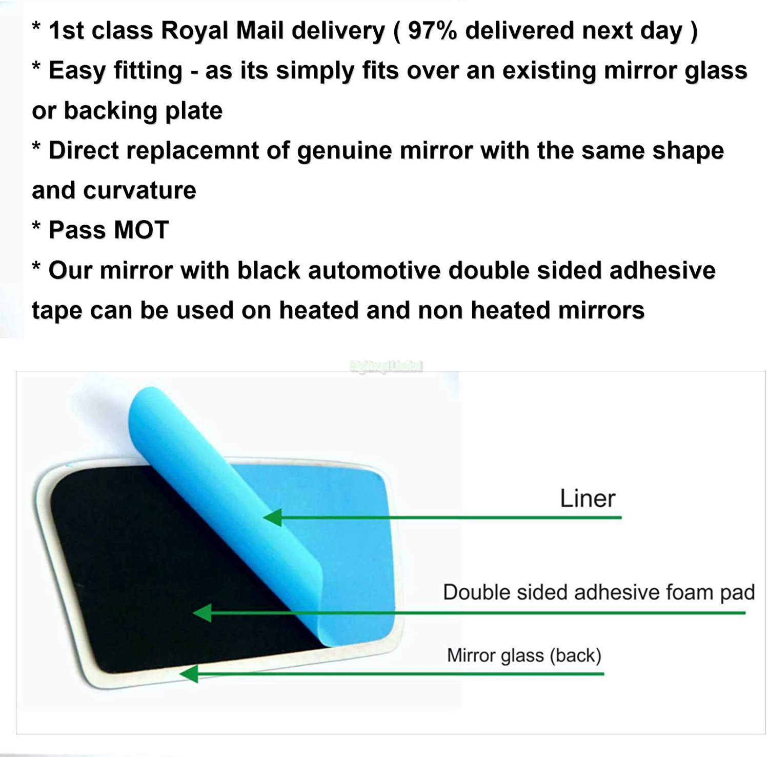 Hightecpl 229RS Right Driver Side Convex Door Wing Mirror Glass