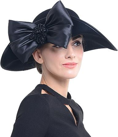 Image result for FORBUSITE Women Wool Felt Plume Church Dress Hat