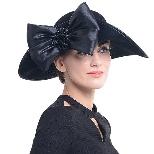 FORBUSITE Women Wool Felt Hats Black Church Dress Hat for Winter ... d3d1a73882ab